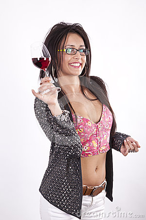 Young attractive woman toast with her drink