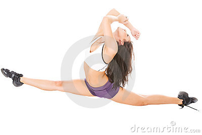 Young attractive women showing her flexibility