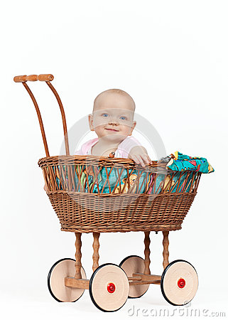 Free Young Baby Girl In A Wicker Pram Royalty Free Stock Photo - 27038475