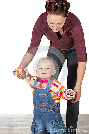 Young baby learning to walk