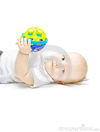 Young baby playing with educational toy