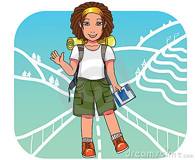 Young backpacker girl at East Asia  background
