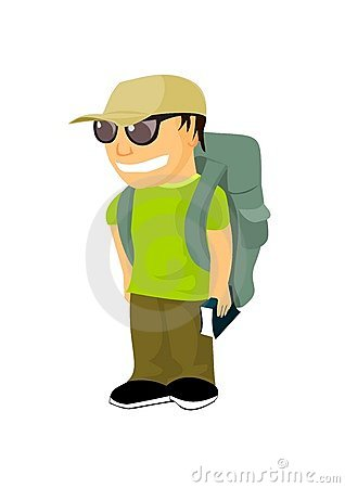 Young backpacker with travel guide