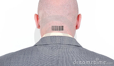 Young bald businessman from his back with barcode