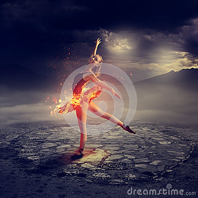 Free Young Ballet Dancer On Fire Stock Images - 82488614
