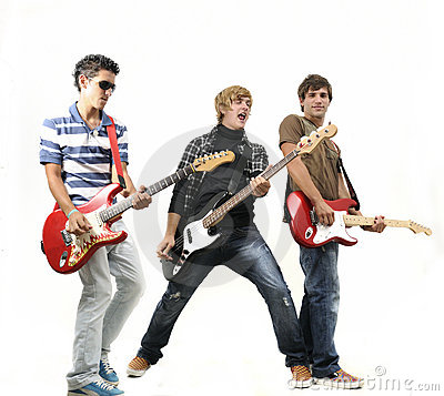 Free Young Band Posing With Instruments, Isolated Stock Photography - 19546282