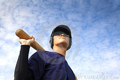 Young baseball player with bat