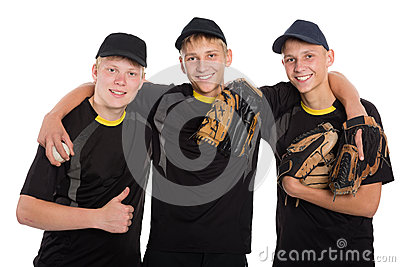 Young baseball players isolated on white