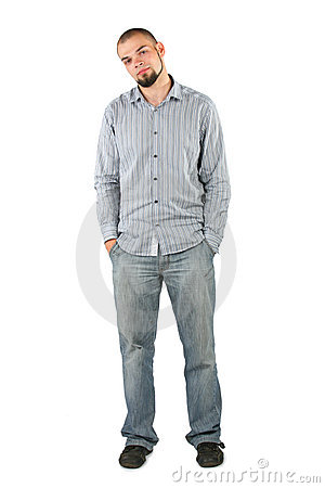 Young beard man isolated on white background