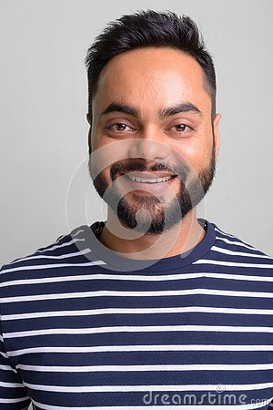 Free Young Bearded Indian Man Against White Background Stock Photography - 127367522