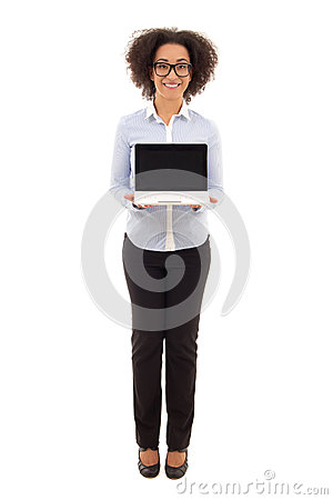 Free Young Beautiful African American Business Woman Holding Laptop W Royalty Free Stock Photo - 53830035