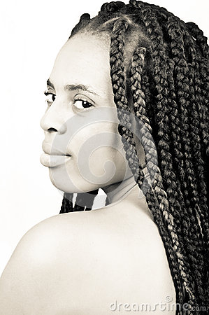 Beautiful African American woman with braided hair