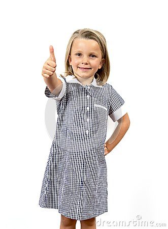 Free Young Beautiful And Happy Child Girl 6 To 8 Years Old Blond Hair And Blue Eyes Smiling Excited Wearing School Uniform Isolated On Royalty Free Stock Photos - 109116658