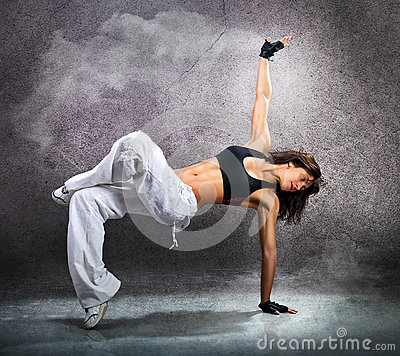 Free Young Beautiful Athletic Woman Dancing Modern Dance Hip-hop Royalty Free Stock Photos - 52151888