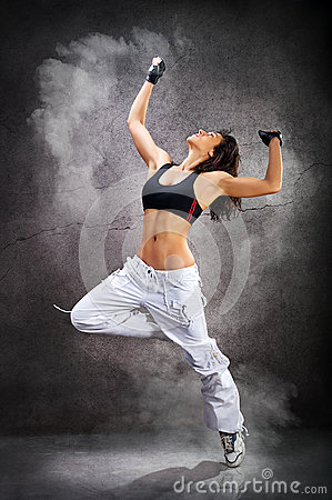 Free Young Beautiful Athletic Woman Dancing Modern Dance Hip-hop Royalty Free Stock Images - 52152439