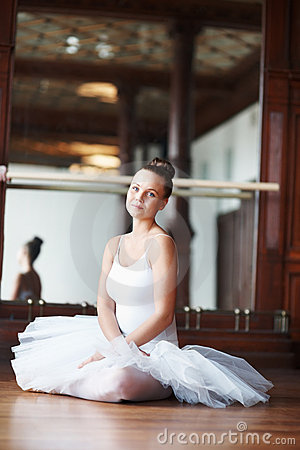 Young beautiful ballet dancer resting