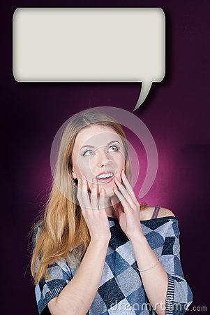 Young woman looking up in amazement on dialog box