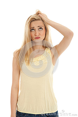 Young beautiful blonde woman emotion