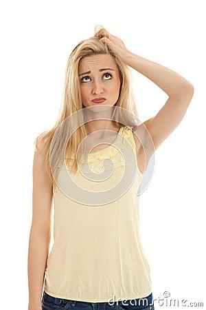 Young beautiful blonde woman emotion