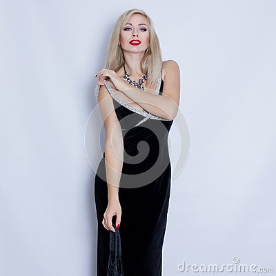 Free Young Beautiful Blonde Woman In Black Evening Dress. Stock Photo - 102895720