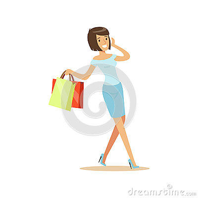 Young beautiful brunette woman in an elegant clothes walking with shopping bags and talking on mobile phone colorful Vector Illustration