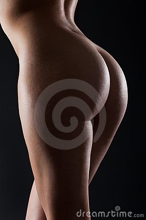 Young beautiful bum with backlighting isolated