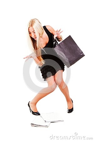 Young beautiful business lady in dress