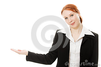 A young beautiful business woman pointing