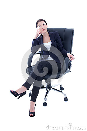 Free Young Beautiful Business Woman Sitting On The Chair And Dreaming Royalty Free Stock Images - 37652479