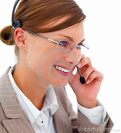 Young beautiful business woman using headset