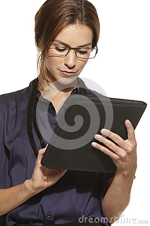 Young beautiful business woman using tablet Stock Photo