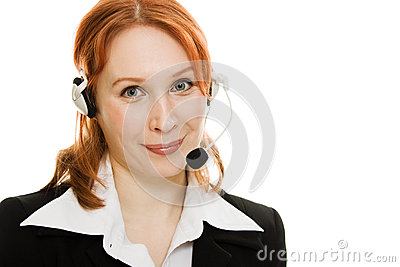 Young beautiful call center female operator