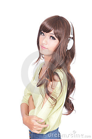 Young beautiful cool woman listen music