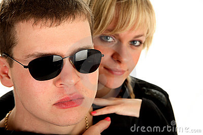 Young beautiful couple in sunglasses