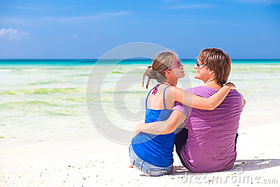 Young beautiful couple on tropical boracay beach.honeymoon
