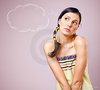Free Young Beautiful Dreaming Girl With Braid Royalty Free Stock Photography - 19386137
