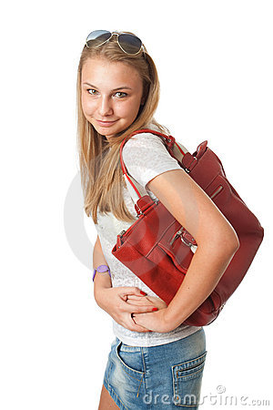 The young beautiful girl with a bag
