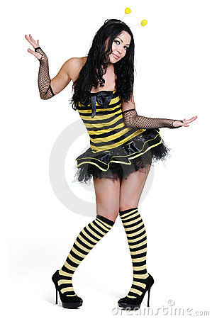 Young beautiful girl in the bee costumes