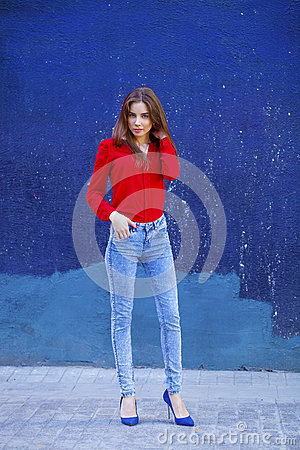 Young Girl In Red Shirt And Blue Jeans Royalty Free Stock Image ...