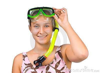Young beautiful girl diver