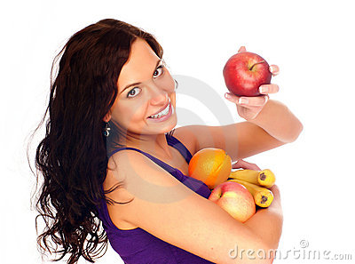 Young beautiful girl with fruit