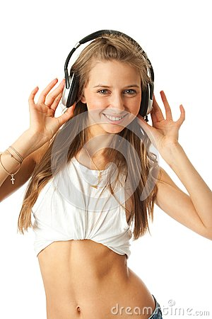 The young beautiful girl with headphones