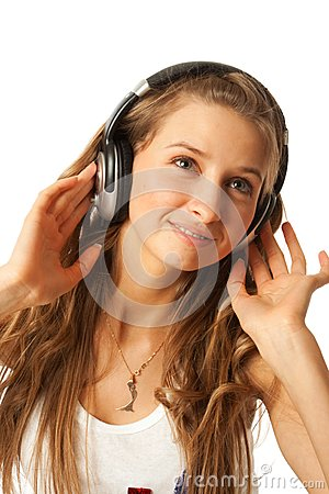 The young beautiful girl with headphones isolated