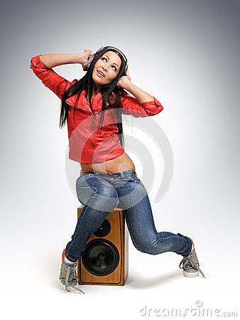 Free Young Beautiful Girl In Headphones With Speaker Stock Photography - 25593232