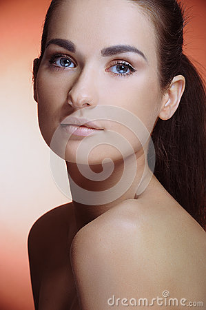 Young beautiful girl with perfect health skin of face and natural makeup