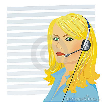 Young beautiful girl telephone operator