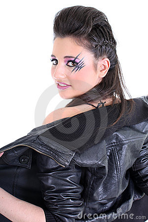 Young beautiful girl undress black leather jacket