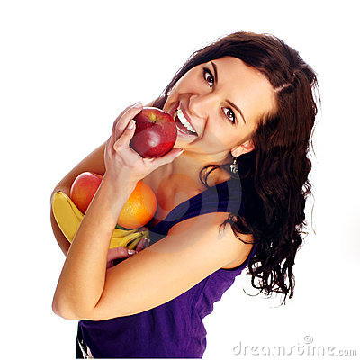 Free Young Beautiful Girl With Fruit Royalty Free Stock Image - 12172546