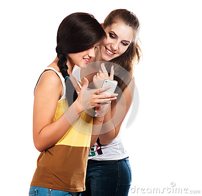 Free Young Beautiful Girls Using The Cellphone To Send And Receive Sms Royalty Free Stock Images - 37755799