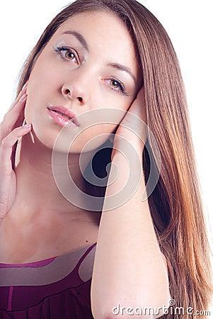 Young Beautiful Glamour Woman Headshot Portrait